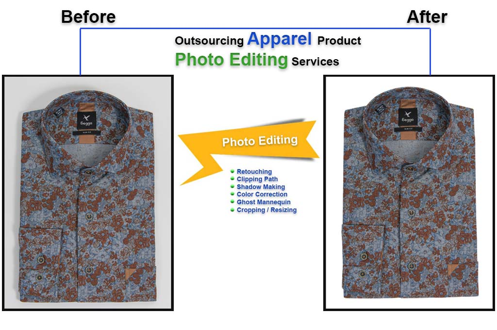 Outsourcing apparel product photo editing services